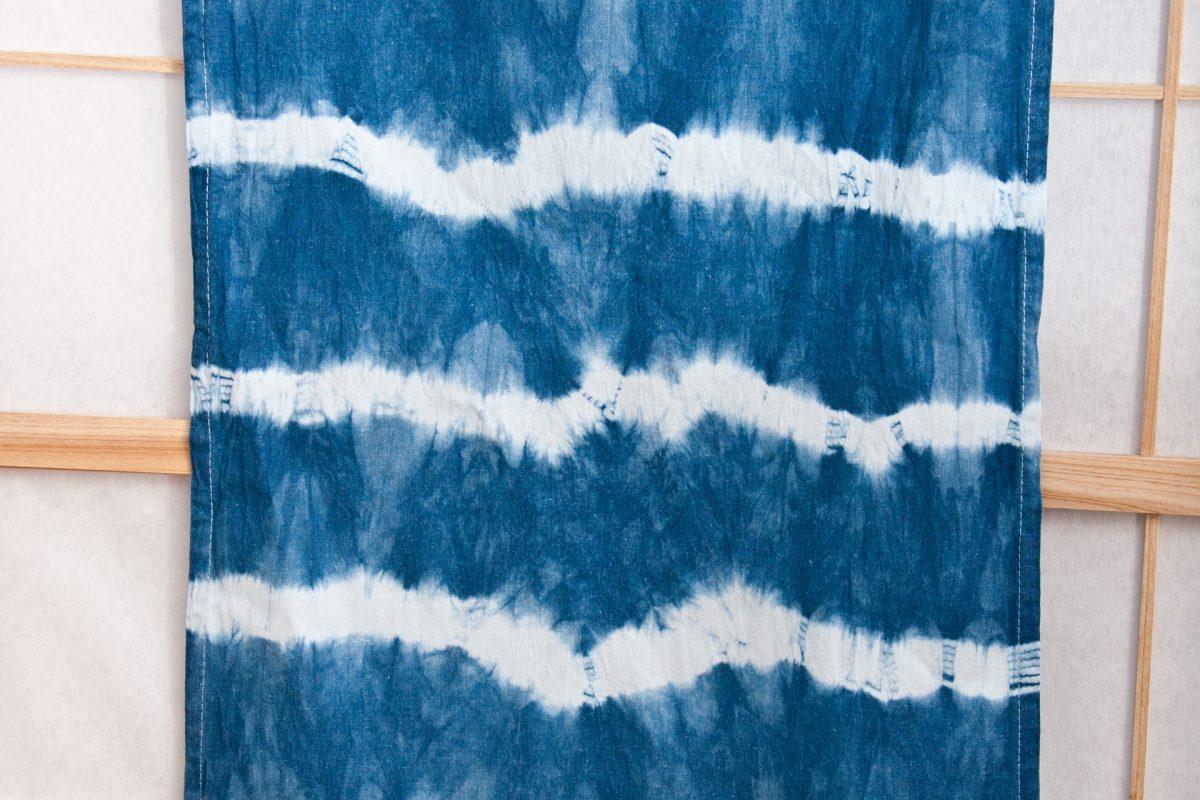 Geschirrtuch - Shibori Streifen - Indigo Aizome